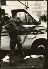 Anarchy on the streets of London (DoubleNegativeSeb) Tags: foma glossy pyro kodak trix amidol6x9 fuji gw690ii 6x9 protest nov 24th london witehall kettle police van protester punch student fees anarchy 2010 street riot img foto bild       picha  unfound blackandwhite