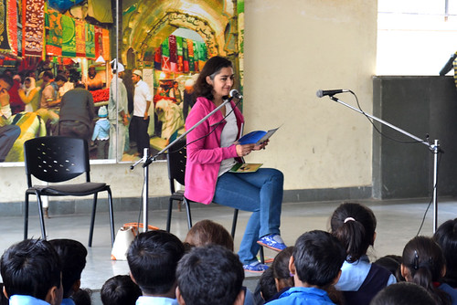 Samina Mishra's first storytelling event with the primary school students of the MCD school in East Nizamuddin
