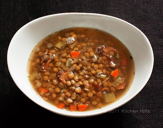 Lentil Soup with Bacon and Rosemary overhead view