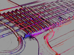 Crazy for the Blues (fstop186) Tags: blues guitar rock electric art poster postcard drawing abstract strings red blue acoustic lines curves shadows graphic lineart