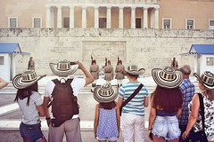 Day 186: Is for ...The Matching Hats (Storyteller.....) Tags: hats hat 365 deep365 tourists greece street monument athens people