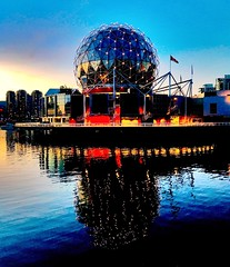 Vancouver - Science World (morocks@rocketmail.com) Tags: hdr plus iphone7 iphone evening bc canada sunset sea water ball globe vancouver dusk