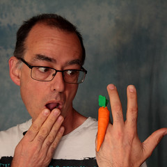 Day 63 - It wasn't an expensive ring, just one carrot. (Rob Johnstone) Tags: middle age aged man 365 self selfie portrait portraits project carrot model bad pun plasticine orange jewelry ring wh wah werehere