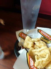 Pork Rinds And Ice Water. (dccradio) Tags: lumberton nc northcarolina robesoncounty samsung galaxy cellphonepicture inside indoors food eat woodys woodysbbq woodysbarbecue woodysbarbque restaurant eatout porkrinds water icewater cup glass