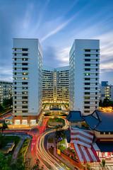 Light Trails (Leslie Hui) Tags: hdb lighttrails cityscape bluehour publichousing singapore city