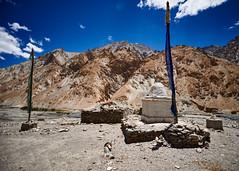 Between the prayer flags (Modesto Vega) Tags: nikon nikond600 d600 fullframe markha markhavalley mountains ladakh india jammukashmir prayerflags sky maniwall stupa