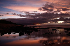 Sunset, Maui (simone reddingius) Tags: ocean sunset reflection beach water clouds reflections hawaii sunsets maui slowshutterspeed longexposures hookipa photobysimone