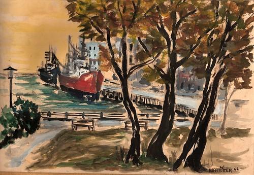 YOKOHAMA'S YAMASHITA PARK, Painted on site 1962 by roberthuffstutter