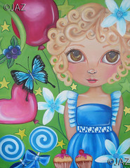 """Natalie"" Original Painting (Jaz Higgins) Tags: flowers blue original cute green eye art girl kids fairytale butterfly painting balloons stars cupcakes big fantastic artwork eyes whimsy artist dress little girly surrealism jasmine australian surreal australia kitsch pop fairy lolita fantasy faery blonde childrens natalie surrealist eyed unusual curlyhair lollipops jaz ulysses whimsical lowbrow"