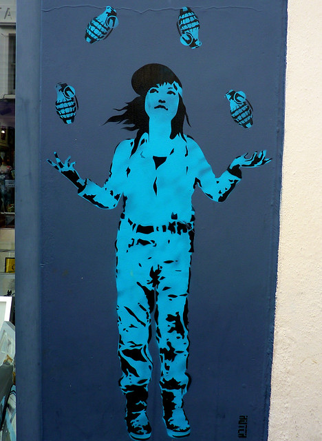 Brighton Graffiti. Wall of ArtRepublic on Bond St.~ girl juggler