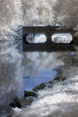 Stone Bridge Over a Slow River (bill.d) Tags: bridge water stone unitedstates michigan unitedstatesofamerica infrared kalamazoo hdr 2010 milhampark photomatix canonef50mmf18ii xti hoyainfraredr72filter
