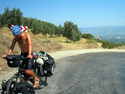 Justin half way up hill after Iznik