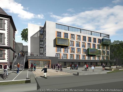 Pressegrafik zum Neubau an der Brecht Schule in Hamburg St. Georg