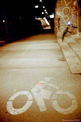 Biking Is For Lovers (Gilmatic) Tags: new york city bridge film bike 35mm 50mm nikon kodak path manhattan f14 f100 nikkor portra 160nc afd