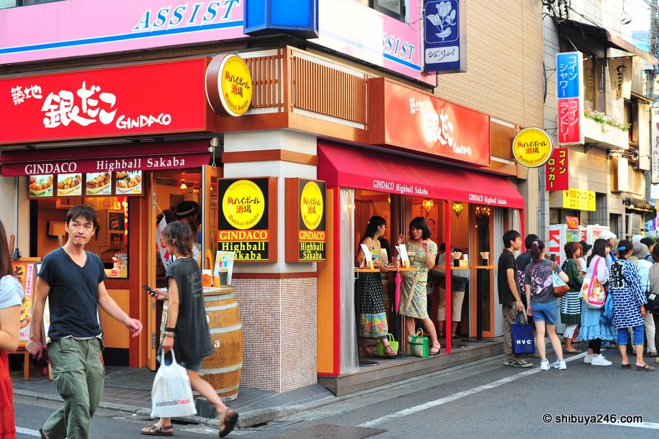Standing bar on a popular street corner