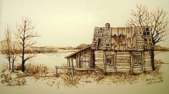 Tumble-down cottage (picturesofmaya) Tags: brown house lake tree illustration pen ink fountainpen draw inkdrawing linedrawing rajz tumbledowncottage picturesofmyday