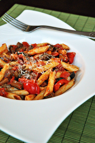 Roasted Red Pepper & Eggplant Pasta
