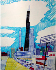 Wesley Willis: Roosevelt, Clinton, and Canal, 1990: Sears Tower Detail (danxoneil) Tags: wesleywillis