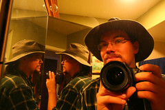 Self Portrait in the Bathroom Mirrors (stormdog42) Tags: camera selfportrait hat self photographer mirrors longhairedmen