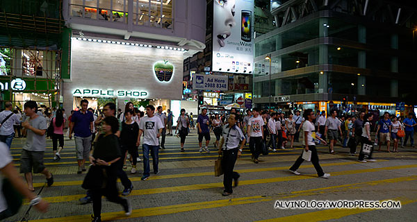 The streets were still quite crowded at night