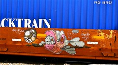 Labrona (mightyquinninwky) Tags: railroad portrait fish face train logo graffiti crossing head character tag graf tracks railway tags tagged railcar rails characters graff graphiti freight 07 2007 railroadcrossing inmotion trainart rollingstock ridley pacu 810 fr8 flatcar railart stacker intermodal labrona spraypaintart reflectivetape freightcar movingart highcube freightart pacerstacktrain fishcreature paintedrailcar taggedrailcar taggedflatcar paintedstacker taggedstacker bbz9 paitnedflatcar 11223344556677 carfireonflickr charactersformyspacestation trainsformyspacestation