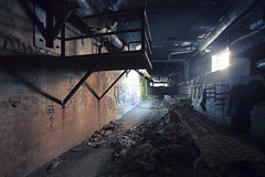 (Katie Thompson) Tags: new york light abandoned trash subway garbage grunge homeless tunnel system aqueduct rochester