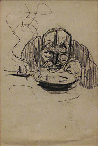 George Benjamin Luks - Man Eating Soup Figure Study