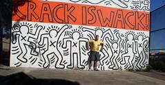 Crack is Wack dancing (drew*in*chicago) Tags: park street nyc newyorkcity original orange white art me playground self subway chalk artist manhattan keithharing crackiswack drewinchicago