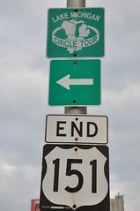 End of US 151 (Triborough) Tags: sign wisconsin roadsign wi 151 manitowoc us151 manitowoccounty lakemichigancircletour