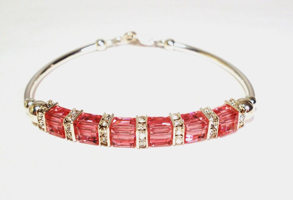 Handmade Birthstone Bracelet - Rose Crystal Cube Sterling Silver