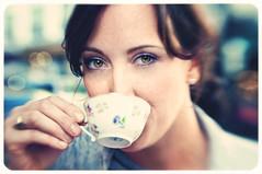 Tea tastes better in Paris. (K-Lewis) Tags: flowers roses paris france tower coffee architecture bread beads cafe gate iron streetlamp chocolate eiffeltower eiffel notredame homemade crepe espresso nutella catherdral fleamarket parisian chocolat flowershop caffe 2010 parisfrance croisant