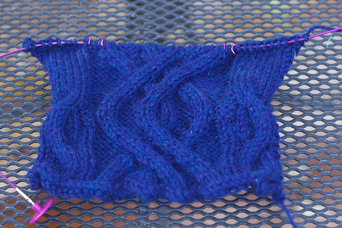 Swatch for midnight cable pullover