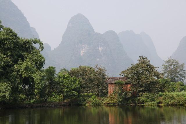 Calm pond in Yangshuo, Guangxi, China