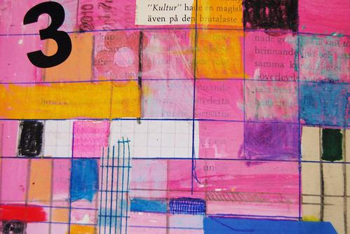 Art Journal detail: pink grids