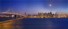 V2 Twilight Bay (David Shield Photography) Tags: sanfrancisco california bridge sunset panorama moon color reflection water stars bay twilight glow treasureisland nightshot baybridge bayarea cityskyline urbanlandscape yerbabuenaisland flickraward nikond700 reflectionslovers globalrms