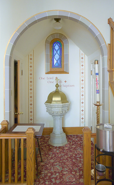 Saint Joseph Roman Catholic Church, in Josephville, Missouri, USA - baptismal font