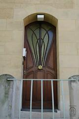 NAN_AN Rue Louis Majorelle 1IMGP2250 (Nouveau Voyages) Tags: door wood france glass stone architecture arch stained artnouveau nancy railing louismajorelle