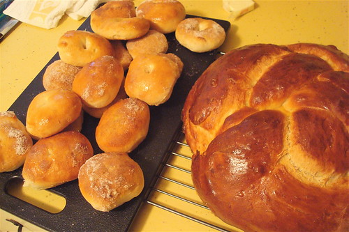 Baked donuts & challah bread