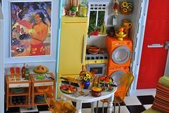 green red orange kitchen with Gauguin