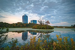 Suburban Oasis (Doug Wallick) Tags: park sunset building minnesota clouds reflections island three office pond suburban reserve rivers bloomington picnik lightroom hyland normandale a230 explored mygearandmepremium mygearandmebronze mygearandmesilver mygearandmegold mygearandmeplatinum