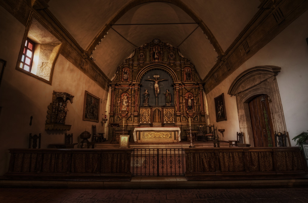 A swath of daylight and the Altar of the Carmel Mission