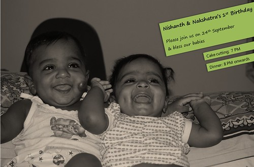 Nishanth Nakshatra First Birthday - Invitation