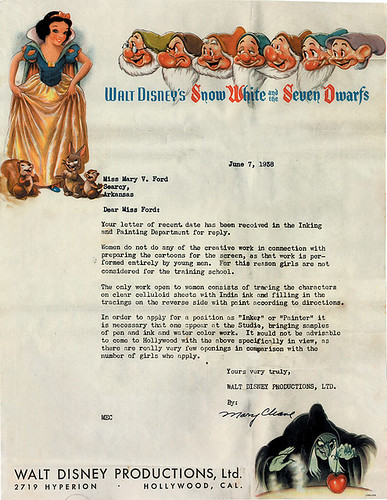 Disney Rejection Letter to Women Everywhere
