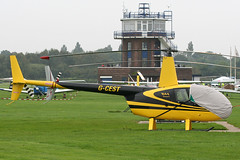 G-CEST - 2004 build Robinson R44 Raven, Barton based at the time (egcc) Tags: manchester helicopter barton raven robinson controltower listedbuilding cityairport r44 1424 egcb gcest