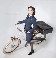 Kat the Wraf - on her bike (Weet0bix) Tags: camera girl bike bicycle model war suitcase pinup raf wraf