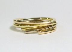 Three colour gold circles ring