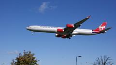 Airbus 340-600 (Raymond M Smith) Tags: airplane heathrow airbus 747 virginatlantic southrunway