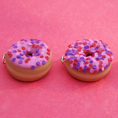 Pink Doughnut Charms (Sweet Cherry Designs) Tags: pink cute breakfast miniature necklace yummy maple handmade small charm polymerclay sprinkles tiny donut icing frosting jimmies