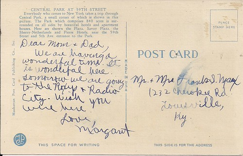 NYC Postcards - Central Park at 59th Street (Reverse)