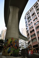 Hill Road  (duncluk ) Tags: bridge architecture hongkong graffiti apartment  urbanscape density   westerndistrict  d90  shektongtsui
